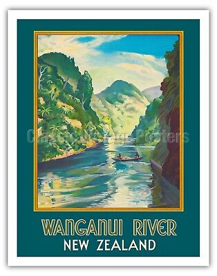 TR9 Vintage Queenstown New Zealand Travel Poster Re-Print A1//A2//A3//A4