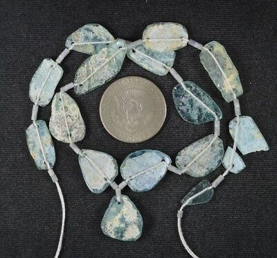 Ancient Roman Glass Beads 1 Medium Strand Aqua And Green 100 -200 Bc 994