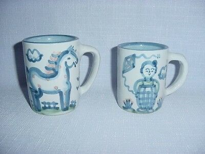 Pair of M.A. Hadley Blue Mugs....Country Horse and Boy with Kite