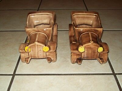 """Real """"MCCOY"""" USA Pottery Brown Roadster Car Planter w/Gold Paint Excuse My Dust"""