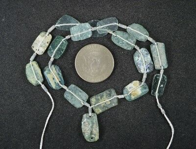 Ancient Roman Glass Beads 1 Medium Strand Aqua And Green 100 -200 Bc 995