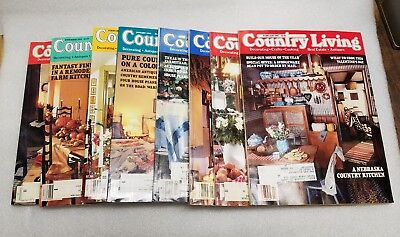 Country Living Magazine Lot of 8 vintage issues-1986 1987 1994 1995-Decorating