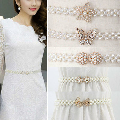New Women Ladies Fashion Waistband Beads Chain Belt Stretchy Dress Pearl Elegant