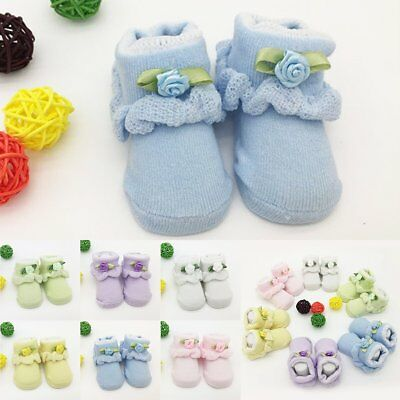 Newborn Baby Girl Boy Socks Anti-slip Cotton Socks Slipper Shoes Prewalker 0-6 M