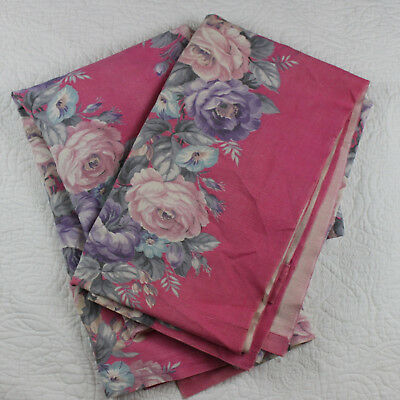Vintage 2 Floral Curtains Drapes Pair Pink Roses Cottage + Extra Fabric 1940s