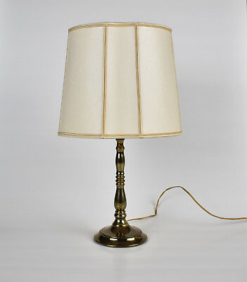 Vintage French Brass Plated Bedside Table Lamp w. Inverted Round Lampshade