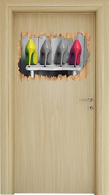 High Heels on Stool -3d-look Holzbruch Wall Tattoo Stickers