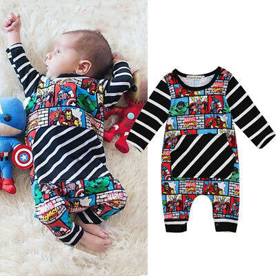 Cute Newborn Baby Boy Cartoon Romper Bodysuit Jumpsuit Superhero Clothes Outfits