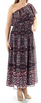 VINCE CAMUTO $168 Womens New 1491 Navy Floral Pleated Short Sleeve Dress 12 B+B