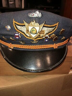Vintage Harley Davidson Cabbie Style Cap With 13 AMA Pins Original Collectible
