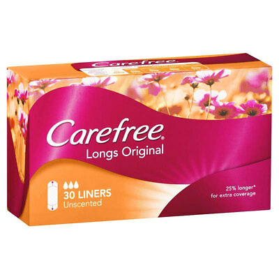 * Carefree Longs Original 30 Liners Unscented 25% Longer For Extra Protection