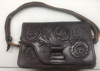 Vintage Dark Brown Leather Floral Embossed Hand Tooled Mexican Purse Hand Bag