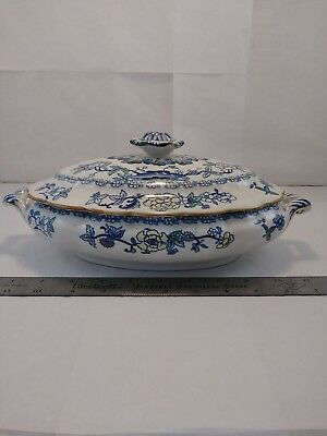 Vintage Booths Silicon China Covered Vegetable Dish The Pompadour Pattern