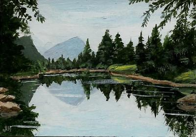 """aceo original acrylic painting """"Clear Lake""""  by J. Hutson"""
