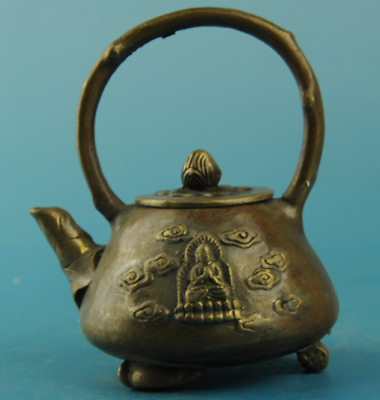 chinese old copper Hand carving Buddha teapot /xuande mark