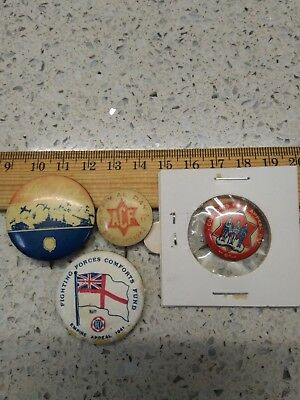 4 Old Badges Pins Medallions Military Navy Army Airforce Comforts Fund Appeal