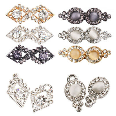 3Pairs Filigree Crystal Cape Cloak Clasp Fasteners Hook Eye Cardigan Button Clip