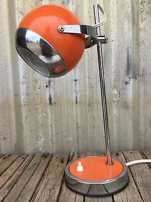 VINTAGE 60's Retro JETAGE EYEBALL DESK LAMP Space Age ATOMIC Orange & Chrome