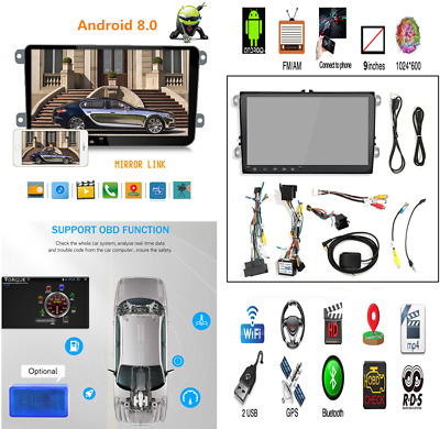9'' HD 2Din Touch Car Android 8.0 GPS Navigator DVR MP3 MP5 RDS For Golf Polo