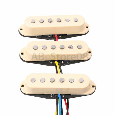 Set of 3PCS SSS Single Coil Alnico 5 Pickup Set for ST Strat Guitar Ivory