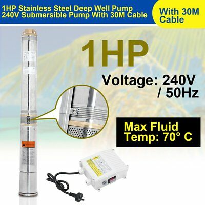 1HP Submersible Bore Water Pump Well Irrigation Stainless Steel 240V 0.75KW ROLL