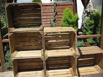 6 vintage strong & solid wooden apple crates boxes home decor