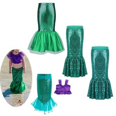 Mermaid Tail Skirt Costume Girls Cosplay Fancy Dress Princess Party Outfit Set