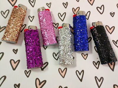 Cute Decorated BIC Glitter Bling Lighter ~ Pink Gold Purple Blue Black Silver