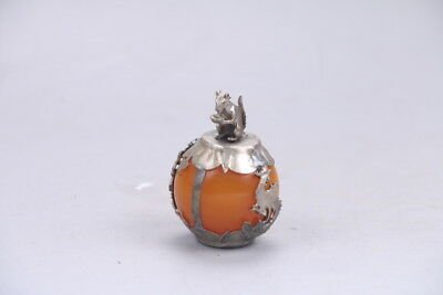 Exquisite Chinese handmade Tibetan silver inlaid beeswax paper--mouse