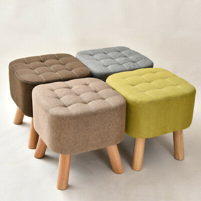 Square Pouffe Padded Footstool Dressing Table Stool Ottoman Wood Legs Cube