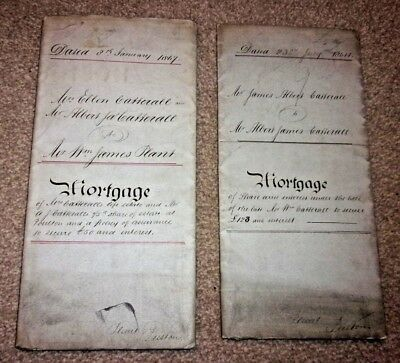 Antique Mortgage Documents 1864 /1867 x 2. in name of Catterall