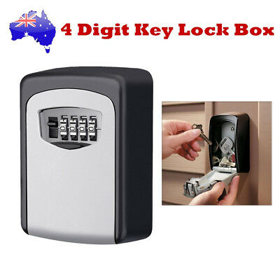 Weather Resistant 4 Digit Combination Wall Mounted Key Lock Safe Box Padlock AU