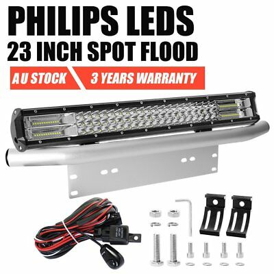 23inch Philips Spot Flood LED Work Light Bar + Number Plate Frame Mount Bracket