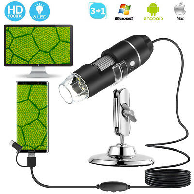 1000X IR 8 LED USB 2.0 Digital Microscope Endoscope Zoom Camera Magnifier +Stand