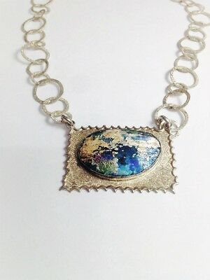 Sterling Silver necklace with Ancient Roman Glass.Israeli Jewelry