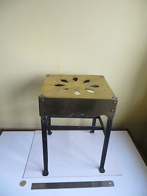 Old Antique Brass & Forged Iron Kettle Plant Stand Butlers Footman Hearth Trivet