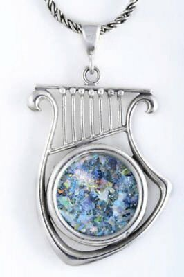 Sterling Silver Harp  necklace with Ancient Roman Glass.Israeli Jewelry