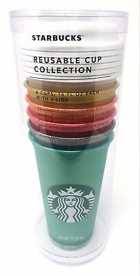 Starbucks Reusable Cup 2018 Holiday Collection 16 Oz Limited 6 Pack Cups Lids