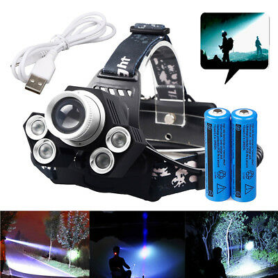 150000LM Tactical 5xT6 LED Rechargeable 18650 USB Headlamp Head Light Torch Lamp