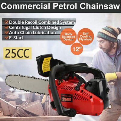 """New 25cc Petrol Commercial Chainsaw 12"""" Bar E-Start Mill Tree Pruning 2-Stroke"""