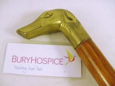 """36"""" Wooden Walking Cane [in 2 parts] with Brass Dog's Head Handle (WH_5785)"""