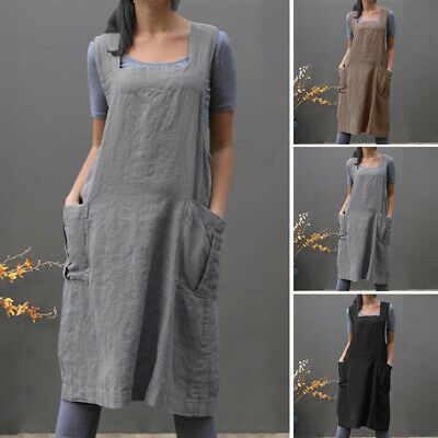 UK STOCK Women Pinafore Dungaree Back Cross Cooking Long Bib Shirt Dress Apron