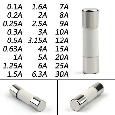 5x20mm 250V Ceramic Fuse Round Tube Fast Blow Fuse 0.1 Amp to 30 Amp A1