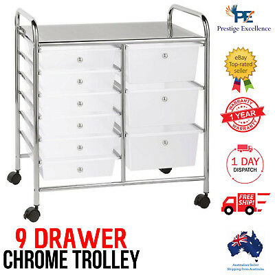 9 Clear Drawer Trolley Home Office Storage Organiser Chrome Legs with Top Shelf