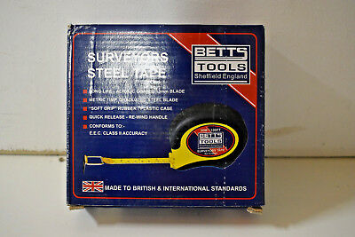 BETTS TOOLS Surveyors Steel Tape 30M / 100FT - NEW - Fast Dispatch