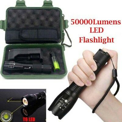 Tactical 50000LM T6 LED Flashlight Zoomable Torch Light+ 18650 Battery +Charger