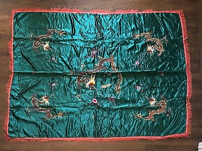 Large Antique Vintage Chinese Silk Embroidery Wall Hanging Table Cloth Dragons