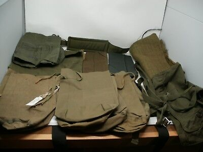 Vintage Lot of Military Gear WW2 & Vietnam ~ Ruck Sacks, hood, belts, hats,Etc.