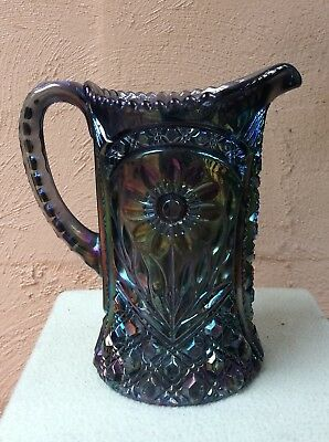 SMOKE CARNIVAL GLASS WATER PITCHER marked IG