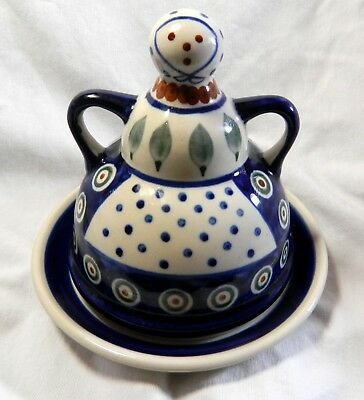 Boleslawiec Polish Pottery Lady Cheese Or Butter Dish Hand Made In Poland, S2